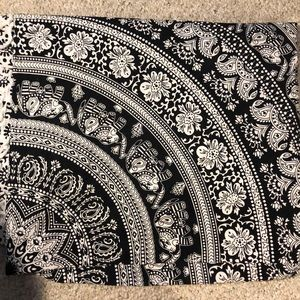 Elephant print, black and white tapestry.